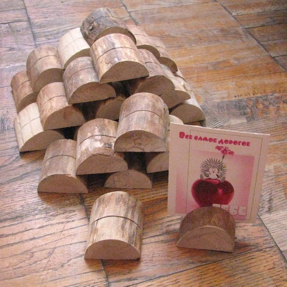 12 Birch Wood Holders for displaying photos, postcards, business cards and more...