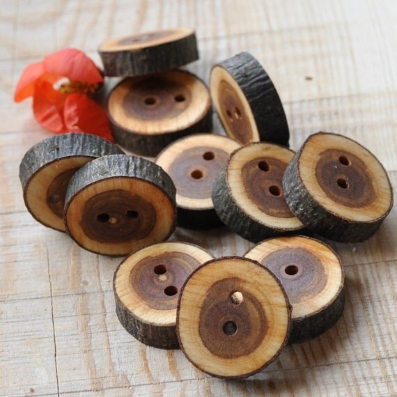 set of 20 CHERRY PLUM wooden buttons handmade from a tree branch wood... 2 holes... 1 inches
