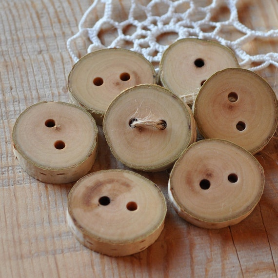 set of 6 BIRCH wooden buttons handmade from a tree branch wood... ooak...2 holes... 1 1/4 inches