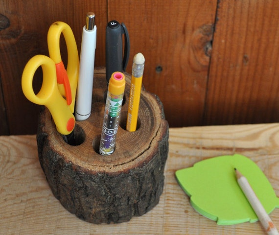 Rustic Pencil Holder Wooden  Desk Organizer