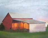 Painting, Art, Landscape, Warm Light on Barn at Naylors. Paintings by Bonnie Murray on Etsy.