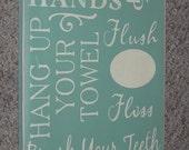 Bathroom  Rules Sign Typography Word Art Handpainted Subway Art  10 x 21