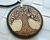 Tree of the World - burned wooden pendant