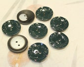 Destash Lot of 8 pcs - Round Plastic Dark Green with Leaf Patterns / Black and Grey Buttons