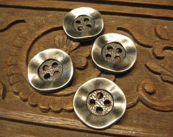 Lot of 4 pcs - Square-round Wavy Metal Buttons - Antique Silver - four holes