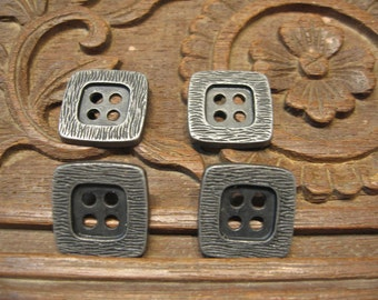 Lot of 4 pcs - Square Metal Buttons - Antique Silver - four holes