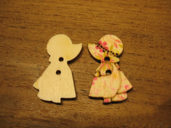 Lot of 6 pcs - Sweet Little Girl with Hat Wooden Buttons  - two holes
