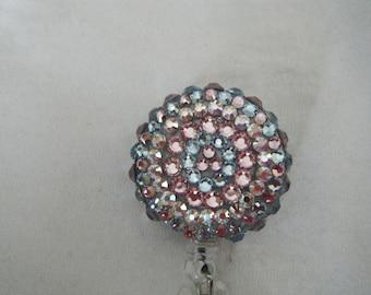 Swarovski Crystal Retractable Reel Badge Holder