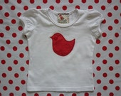 Red and White Pin Polka Lolly Bird Puff Capped Sleeve T