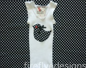 Black and White Polka Lolly Bird Singlet Size 0