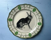 Hare inky illustration wall art vintage side plate