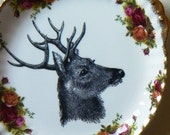 Stag inky illustration wall art vintage dinner plate