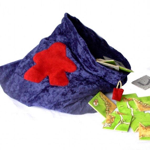 Velvet Meeple Bag for Carcassonne, Drawstring, 12in, game bag, dice bag, tournament bag, navy blue piece bag, scrabble tiles, randomizer
