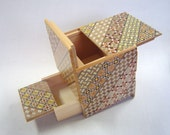 Japanese Puzzle box (Himitsu bako)-Super Cubic-Open by 10steps with Hidden Drawer