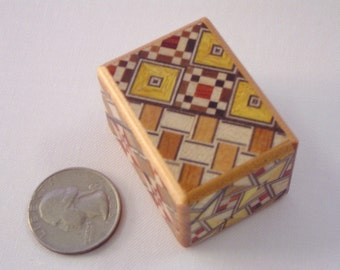 Japanese Puzzle box (Himitsu bako)- 1.7inch(43mm) Open by 4steps Yosegi