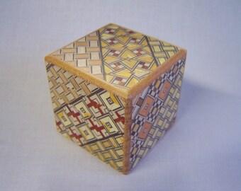 Japanese Puzzle box (Himitsu bako)-54m (2.1inch) Kaku Cube 7 steps Yosegi