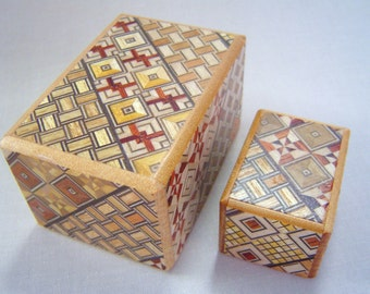 Japanese Puzzle box (Himitsu bako)- The Nested box-2.8inch 5steps and 1.7inch 4steps Yosegi