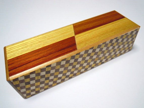 Japanese Puzzle box (Himitsu bako)- 7.5inch(190mm)- Right and Left box  Checker pattern
