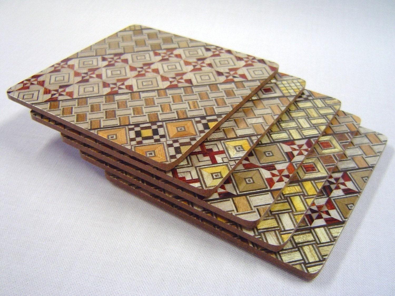 mosaic japan_Japanese Wood Mosaic Yosegi Coaster Glass Mat Set of by tomomaru