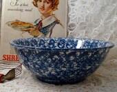 Vintage Mixing Bowl Blue Spatterware