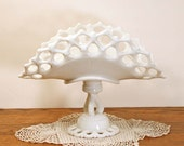 Antique Milk Glass Westmoreland Doric Banana or Fruit Dish White Openwork Rim Twisted Pedestal