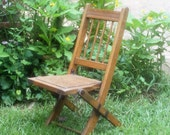 Vintage Folding Chair Antique Wood Slat Chair Child's Size Made in USA