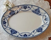 Blue Transferware Platter or Plate Antique Flo Blue and White Ironstone Pottery