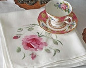Vintage Linen Napkin Set of 6 Hand Painted Rose Floral White and Pink