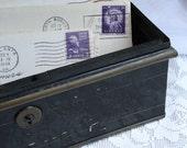 Metal Cash Box Vintage Document Safe or Lock Box for Storage