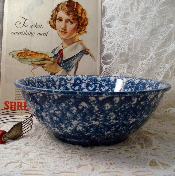 Vintage Mixing Bowl Blue Spatterware