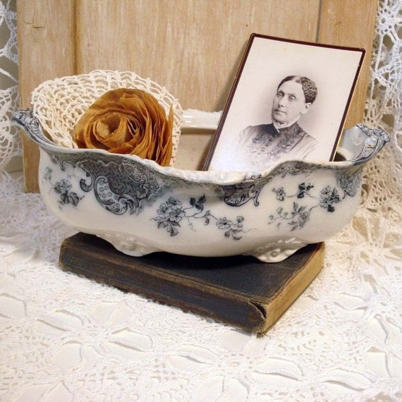 Antique Soup Tureen English Blue and White Ironstone Transferware  Bowl Planter