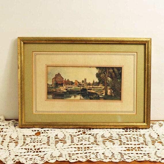 Vintage Framed Print - John Constable Mill at Dedham Bucolic River Scene