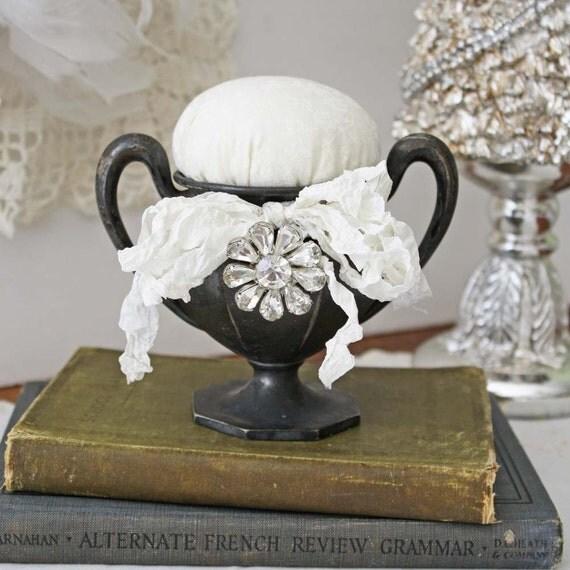 Pincushion Pin Cushion Vintage Inspired Pin Keep: Tarnished silver plate sugar bowl with bling