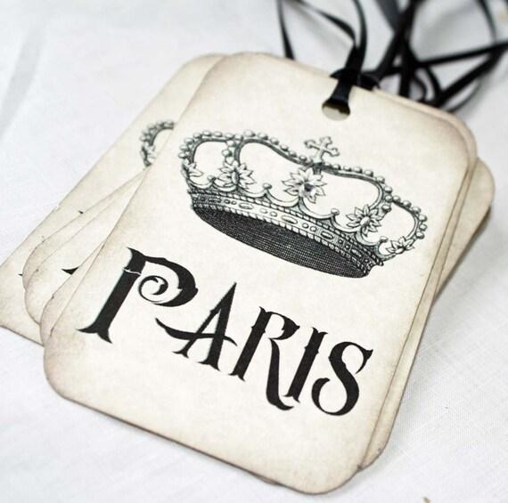 Gift Tag or Hangtag Paris Crown Vintage Inspired