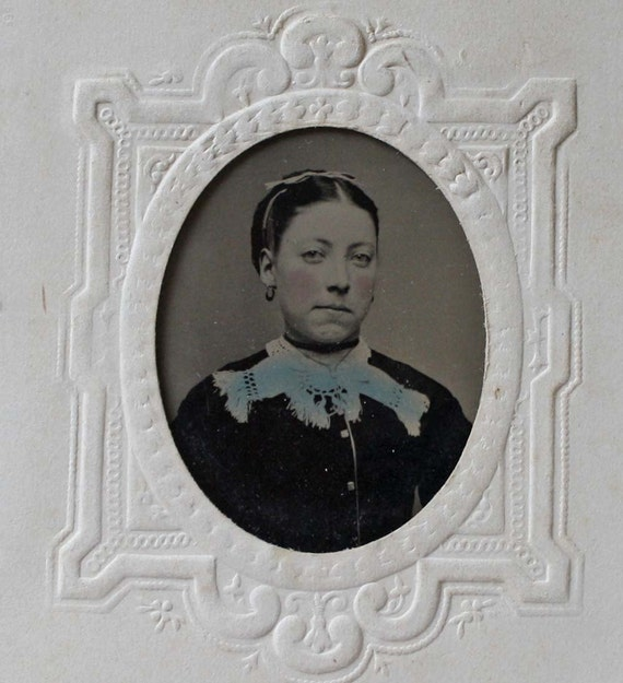 Antique Tintype Photograph Small Size Presentation Card Woman Tinted 1860s Civil War