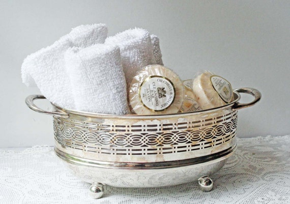 Silver Plate Basket Repurposed Pierced Vintage Thing-a-ma-bob Holder for Storage and Display