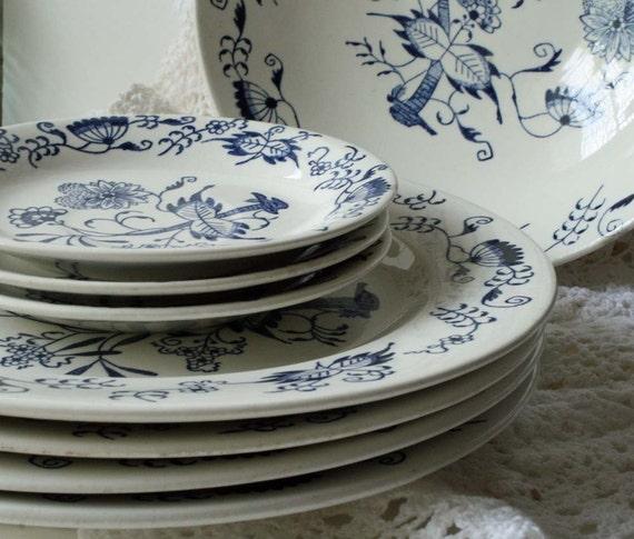 Blue and White Stoneware China Blue Onion Pattern  8 Pcs Plates and Serving Bowl