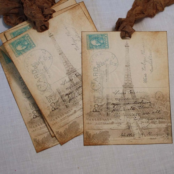 Handmade Gift or Hang Tag Eiffel Tower Paris: Vintage Inspired Hangtag France French
