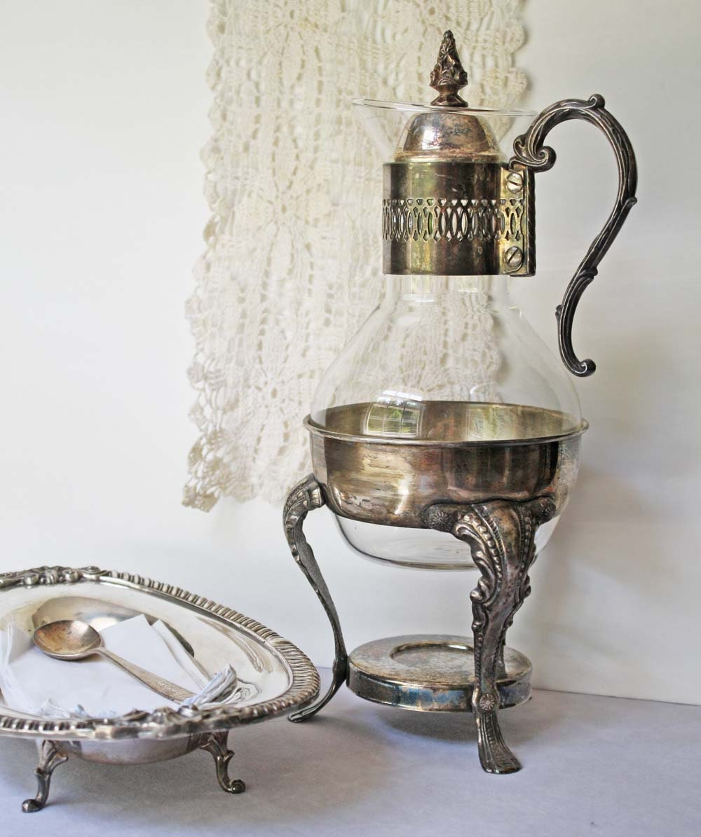 Vintage Coffee Carafe Glass and Silver Plate