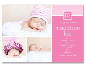 Baby Girl (Madison) 5x7 BIRTH ANNOUNCEMENT Photographer Templates