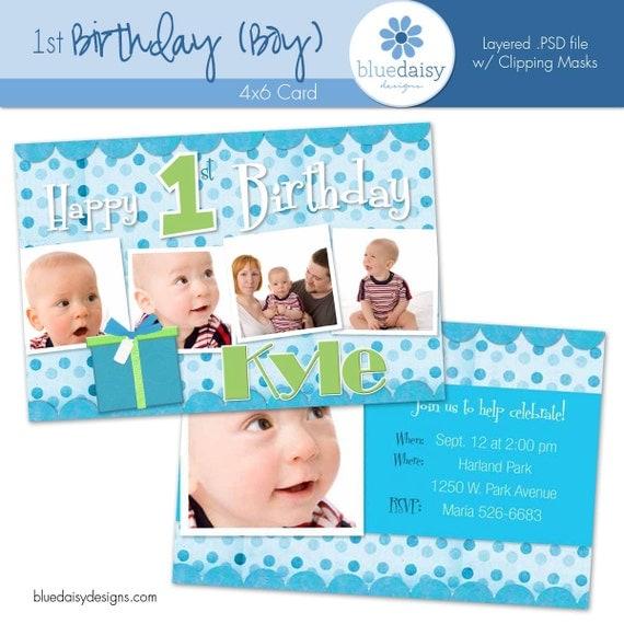 1 Year Old BOY BIRTHDAY Invitation Custom By Bluedaisydigital