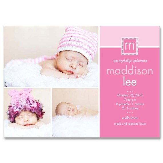 baby girl madison 5x7 birth announcement photographer