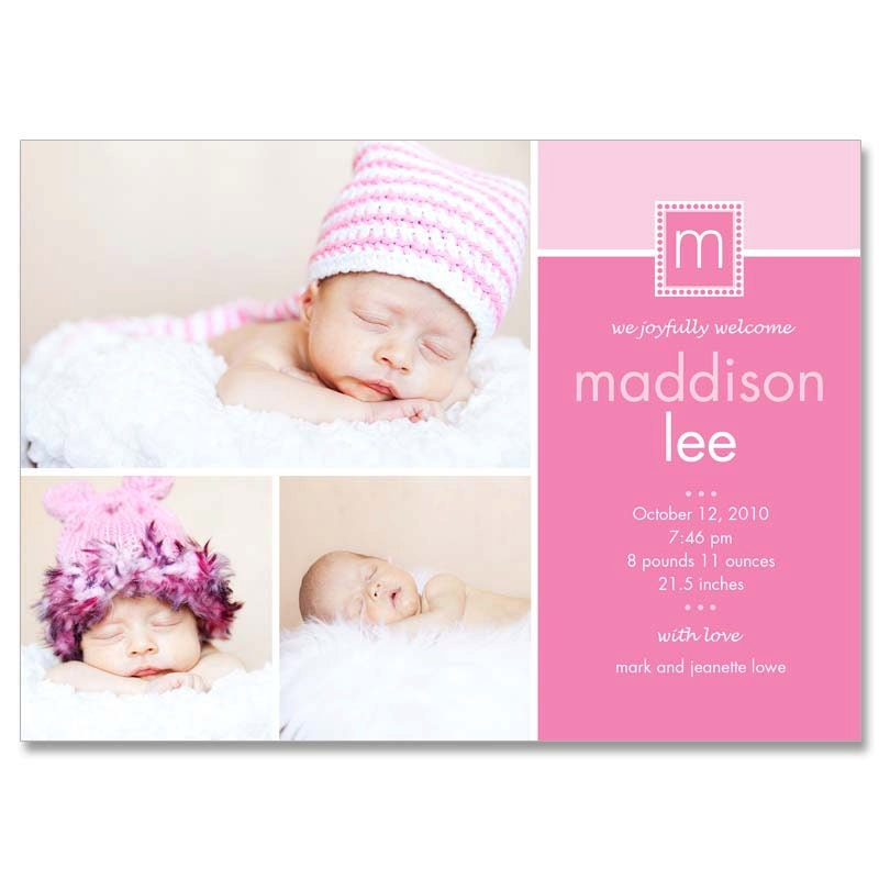Baby Girl Madison 5x7 BIRTH ANNOUNCEMENT Photographer – Baby Announcement Template Free
