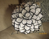 Throw Pillow with Black and Tan Felt Flower Decorator Pillow Sofa Pillow Accent Pillow Felt Flower