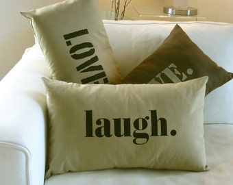 Laugh Pillow Cover in Khaki