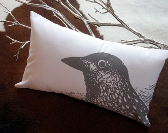 B.Poetic Pretty Bird Pillow Cover in White with Grey Ink
