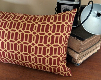 Trellis Pattern Pillow Cover in Rust