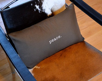 Peace Pillow Cover in Brown