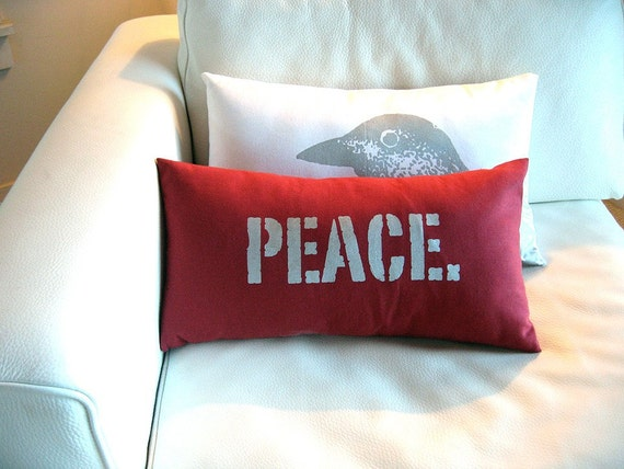 Peace Pillow Cover in Red