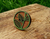Natural Carved Wooden Ring on antiqued brass